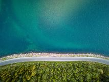 Aerial view of an empty road Royalty Free Stock Image