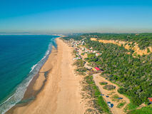Aerial View Empty Sandy Beach with Small Waves Stock Photography