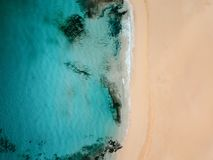 Aerial view of an empty tropical beach royalty free stock image