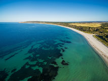 Aerial view of Emu bay turquoise ocean in summer. Kangaroo Islan Stock Photo