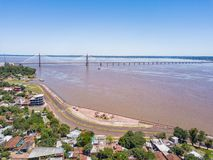 Aerial photography of Encarnacion in Paraguay overlooking the bridge to Posadas in Argentina. Aerial view of Encarnacion in Paraguay overlooking the bridge to royalty free stock images