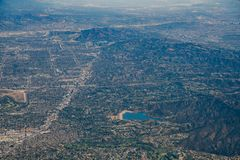 Aerial view of Encino Reservoir, Van Nuys, Sherman Oaks, North H. Ollywood, Studio City on Airplane, Los Angeles County Royalty Free Stock Images