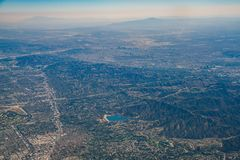 Aerial view of Encino Reservoir, Van Nuys, Sherman Oaks, North H. Ollywood, Studio City on Airplane, Los Angeles County stock photography