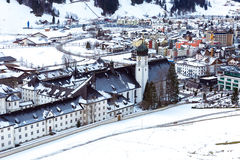 Aerial view of Engelberg, Switzerland, a snowy village in the mountains Stock Photo