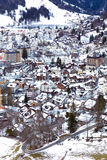 Aerial view of Engelberg, Switzerland, a snowy village in the mountains Stock Photography