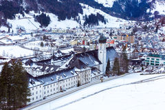 Aerial view of Engelberg, Switzerland, a snowy village in the mountains Stock Images