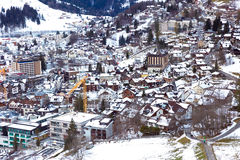 Aerial view of Engelberg, Switzerland, a snowy village in the mountains Royalty Free Stock Photo