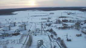 Aerial view Engineering complex for refining and delivery at oil field stock footage