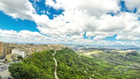 Picturesque green hilly valley near Enna city, Sicily, Italy. Aerial view of Enna old town, Sicily, Italy. Enna is a city and comune located at the center of stock video