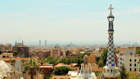 Aerial view of entire Barcelona Spain from Park Guell Royalty Free Stock Image