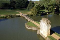 Aerial view. Entrance, bridge, Bodiam castle, England Royalty Free Stock Photos