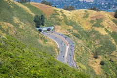 Aerial view of the entrance to Robin Williams tunnel, Marin County, San Francisco bay area, California stock photography
