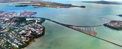 Aerial view of the entrance of Waitemata Harbour in Auckland New Zealand. AUCKLAND - JAN 31 2016:Aerial view of the entrance of Waitemata Habour in Auckland New Stock Photography
