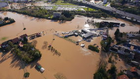 Aerial: view of environmental damage by flooding. Natural disaster stock video footage