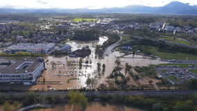 Aerial: view of environmental damage by flooding. Natural disaster stock footage
