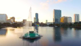 Aerial view of Eola Lake fountain at Orlando downtown, Florida stock video footage