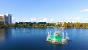 Aerial view of Eola Lake fountain at Orlando downtown, Florida stock footage