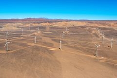 Aerial view of an Eolic park in the Atacama Desert royalty free stock photo