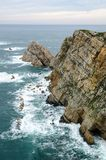 Aerial view of the epic cliffs in Cabo de Peñas in Asturias, Spa. Aerial view of the epic cliffs in Cabo de Peñas in Asturias, Spain. Dramatic fall Stock Photos