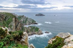 Aerial view of the epic cliffs in Cabo de Peñas in Asturias, Spa. Aerial view of the epic cliffs in Cabo de Peñas in Asturias, Spain. Dramatic fall and Royalty Free Stock Image