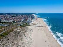 Aerial view of Espinho beach - Porto - Portugal. Espinho beach - Porto - Portugal, aerial shot royalty free stock photos