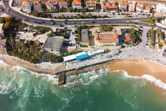 Aerial view of Estoril coastline near Lisbon in Portugal Royalty Free Stock Images