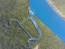 Aerial view on estuaries and strait. On Ko Lanta island, Thailand Stock Photos