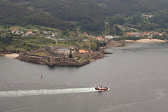 Aerial view of a estuary of Spanish coast Royalty Free Stock Photos