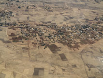 Aerial view of Ethiopian farms and villages stock photography
