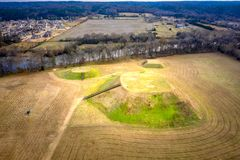 Aerial view of Etowah Indian Mounds Historic Site in Cartersville Georgia. Aerial view picture of Etowah Indian Mounds Historic Site in Cartersville Georgia stock photo