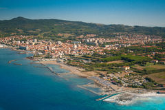 Aerial view of Etruscan Coast, Italy, Tuscany, Rosignano Solvay Stock Images