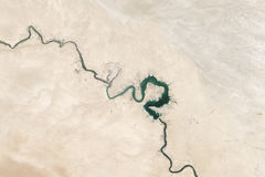 Aerial view of Euphrates River Stock Image