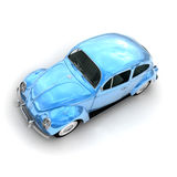 Aerial view of a European blue vintage car. 3D rendering of a European vintage car in shinny blue vector illustration