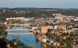 Aerial view of european city. Aerial view of the city of Namur, Belgium royalty free stock images