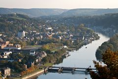 Aerial view of european city. Aerial view of the city of Namur, Belgium royalty free stock photos