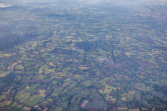 Aerial view of European countryside. Town connected by a network of roads and fields with villages, view from about 5000 m altitude Stock Photography