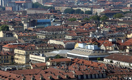 Aerial view of a European metropolis with many roofs Royalty Free Stock Images