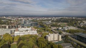 Aerial view of the European Quarter, Council of Europe and European Parliament in Strasbourg, France stock images