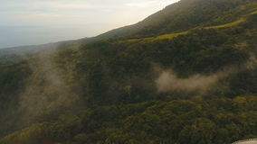 Aerial view evening rainforest. Camiguin island Philippines. stock video