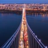 Aerial view of George Washington Bridge stock images