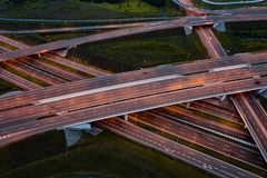 Aerial view on evening traffic on motorway junction. Gliwice, Silesia, Poland stock images