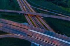 Aerial view on evening traffic on motorway junction. Gliwice, Silesia, Poland stock photo