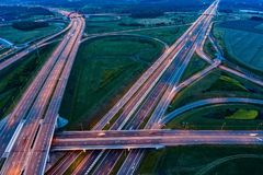 Aerial view on evening traffic on motorway junction. Gliwice, Silesia, Poland royalty free stock photo