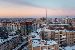 Aerial view of evening Voronezh downtown. Voronezh cityscape at twilight. Modern houses, television broadcast tower.  Stock Photography