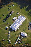 Aerial view of event tent in Vermont. Royalty Free Stock Photos