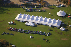 Aerial view of event tent in Vermont. stock photo