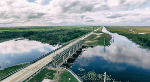Aerial view of Everglades road, Florida - USA Stock Photography