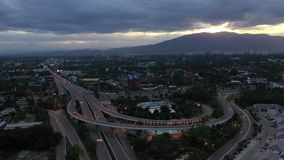 Aerial view Express way in Chiangmai, Thailand.
