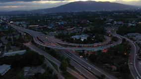 Aerial view Express way in Chiangmai, Thailand. Aerial view Express way in Chiangmai province, Thailand stock video footage