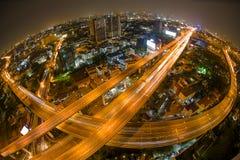 Aerial view of the express way over Bangkok city Stock Photos